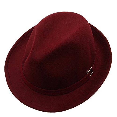 Bigood Women Summer Panama Trilby Fedora Formal Sun Hat Homburg Bowler Red