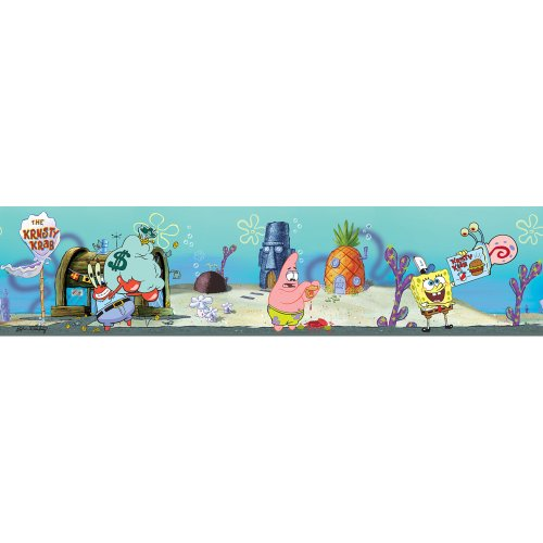 Blue Mountain Wallcoverings NS026443 SpongeBob Self-Stick Wall Border - 1