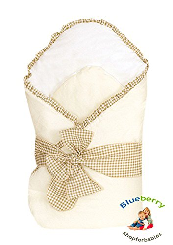 Blueberry Shop Luxury Warm Newborn Swaddle Wrap Blanket Duvet Sleeping Bag Satin Cotton Beige