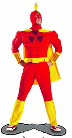Disguise The Simpsons Radioactive Man Classic Muscle Mens Adult Costume, Red/Yellow, X-Large/42-46