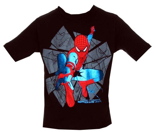 The Amazing Spider-Man Foil Print Marvel Comics Juvenile Superhero T-Shirt Tee