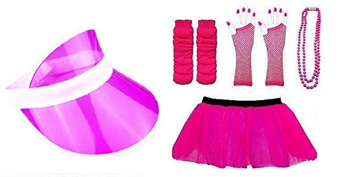 1980's Neon Five Piece's Adult Fancy Dress Tutu Set Tutu,Sun Visor ,Fishnet Gloves,Legwarmers,Beads Hen and Stag