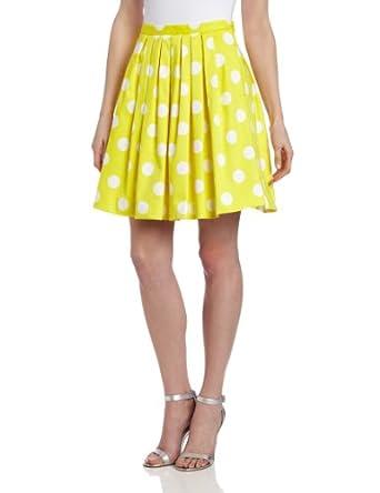 Pink Tartan Women's Polka Dot Full Skirt, Yellow/White, 6