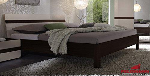 Bett 54021 Doppelbett 180x200cm sonoma eiche dunkel / sandgrau Hochglanz