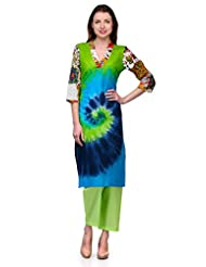 SHAKUMBHARI'S TIE-N-DYE BLUE COLOUR STRAIGHT FIT KURTA WITH PRINTED SLEEVES FOR WOMEN