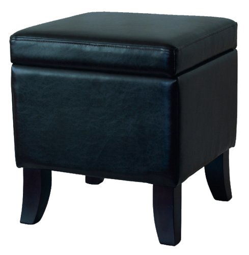 Black Color Bi-cast Leather Storage Ottoman