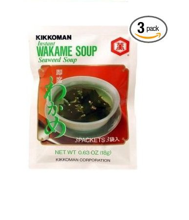 Kikkoman Instant Wakame (Seaweed) Soup (9 Pockets in 3 Packs) - 1.89 Oz by Unknown