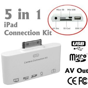 5 in 1 Camera Connection Kit, AV to TV Audio/Video Adapter, MicroSD/SD/SDHC Card & USB Reader, Sync & charge Mini USB slot For Apple iPad, iPad 2