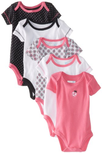 Vitamins Baby Baby-Girls Newborn Dot And Ladybug 5 Pk Bodysuits, Assorted, 6 Months back-984329