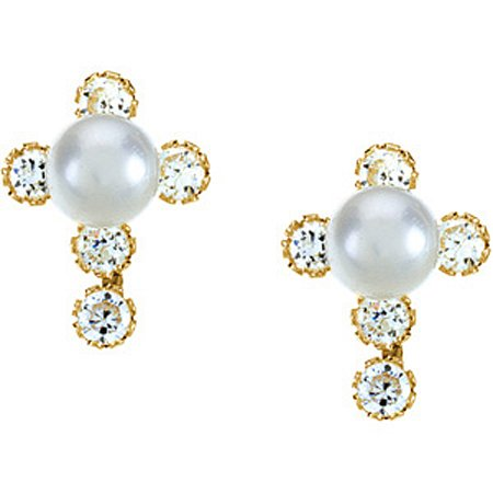 Children's 14K Yellow Gold Rounded Pearl Drop Earrings