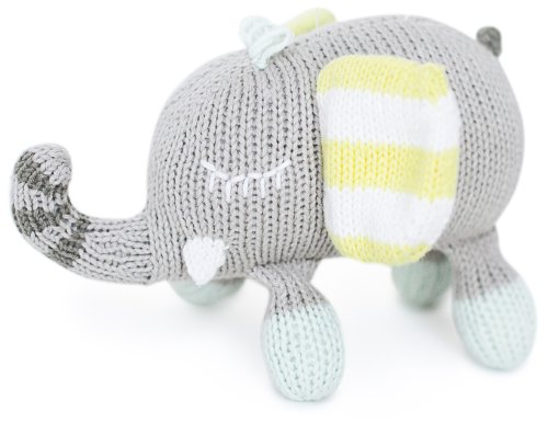 Finn + Emma Organic Cotton Baby Neutral Rattle Buddy - Elephant - 1