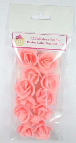 ピンク バラ 12個:美しい食用ケーキデコレーション/12 Pink Roses- Beautiful Edible Cake Decorations