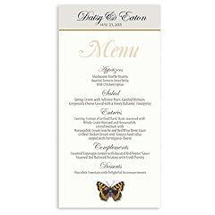25 Wedding Menu Cards - Butterfly Burnt Orange Sky