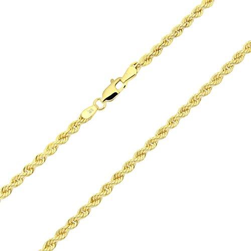 14K/14ct Oro Giallo Corda Catena Collana 3mm di larghezza, uomini, scelta di lunghezza, Oro giallo, colore: yellow gold, cod. Kordelkette-14-3
