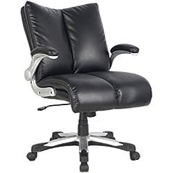 Viva Office, in cuoio rigenerato, Mid-back Chair, Sedia da ufficio economica-Sedia direzionale con schienale e seduta imbottita, Viva8146L2
