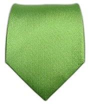100% Silk Woven Solid Textured Apple Green Tie