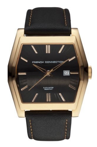 French Connection Men's Black Strap Watch With Gold Case And Black Dial BE41.03FCX