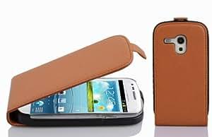 Samsung Galaxy S3 MINI - I8190 case , CADORABO Galaxy S3 MINI Case FLIP Style [BROWN] Premium PU leather Case Flip Cover for Samsung Galaxy S3 MINI - I8190- BROWN [Lifetime Warranty]