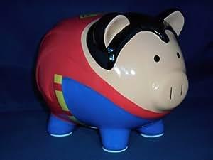 FAB DC Comics SUPERMAN Pig Piggy Bank Coin Bank Ceramic Safe
