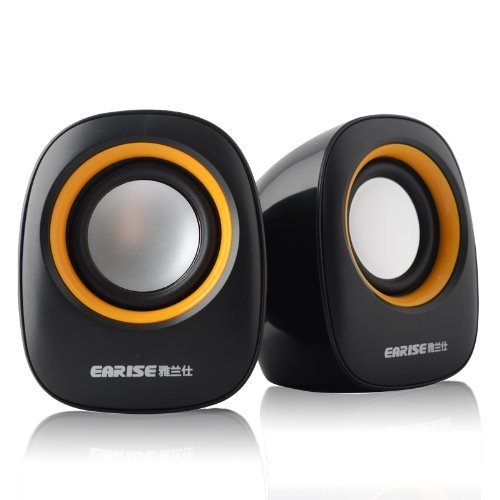 Earise AL-101 3.5mm Mini Computer Speakers, Powered by USB (Black) (Computers Mini Laptop compare prices)