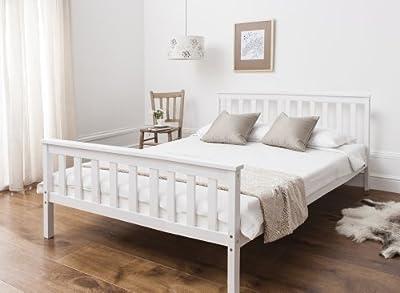 King Size Bed in White Wooden Frame WHITE Dorset