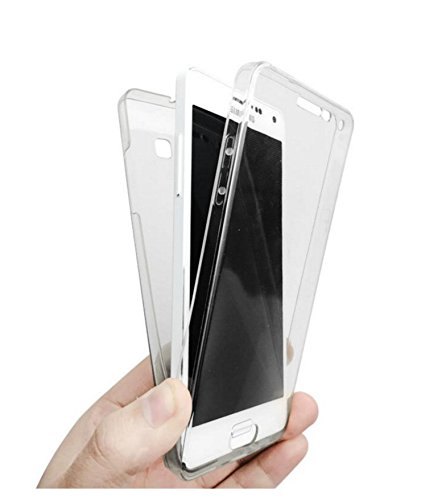 Plus 2 in 1 Clear Transparent Soft TPU Front Case + Back Case Cover 360 Degree Full Body Protection For Samsung Galaxy J7