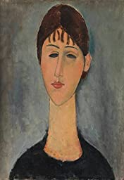 27in x 40in Portrait of Mme Zborowska by Amedeo Modigliani - Stretched Canvas w/ BRUSHSTROKES
