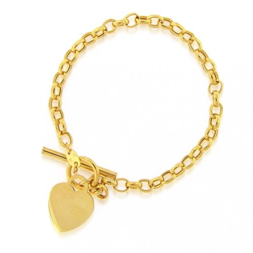 Bling Jewelry 14K Gold Petite Heart Tag Toggle Bracelet [Jewelry]
