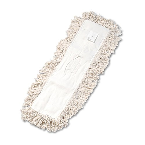 Unisan Industrial Dust Mop Head, Hygrade Cotton, 24w x 5d, White kitcpm04307eauns1336 value kit industrial dust mop head hygrade cotton keyhole style 36w x 5d uns1336 and fabuloso all purpose cleaner cpm04307ea