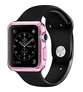 PES Soft 0.3mm Ultra Thin Clear TPU Soft Back Case Cover For Apple Watch 38mm - Pink