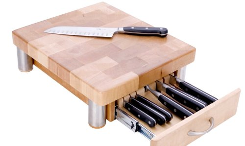 MIU France Maple Cutting Board With 7 Slot Knife Drawer, Natural
