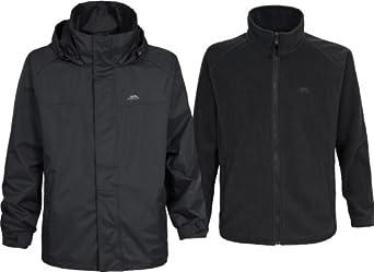 Trespass Mens Brano 3in1 Jacket Black Waterproof With Detachable Fleece