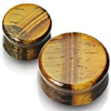 Pair of 2g 6mm Tigers Eye Stone Ear Plugs Gauges - Free Shipping USA