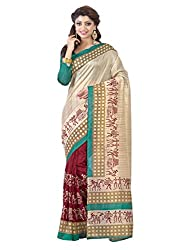 Texclusive Women's bhagalpuri Silk Saree with Blouse Piece