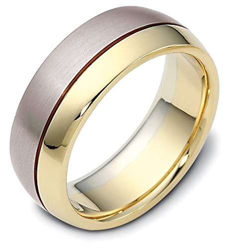 Where To Buy Mens 10K Two Tone Gold Contemporary Design 8MM Wedding Band