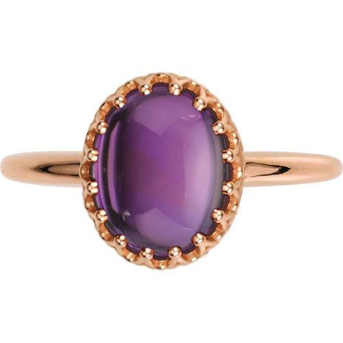 Crown Design Cabochon Ring In 14K Rose Gold ( Size 6 )