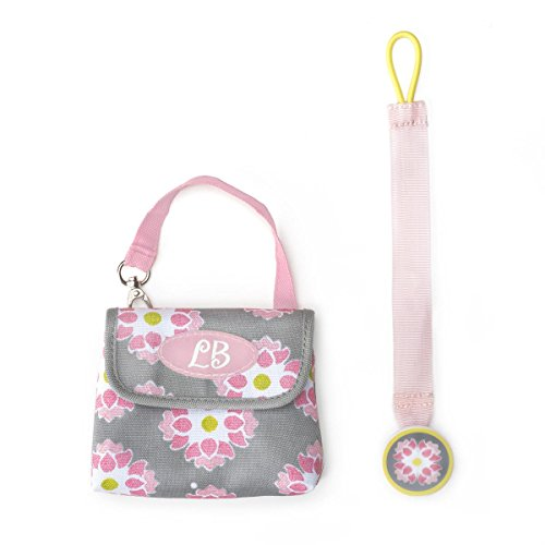 DEMDACO Lillybit Pacifier Pouch and Strap Set, Floral