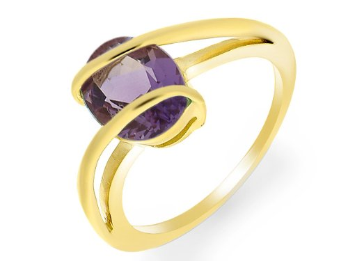 9ct Yellow gold Amethyst Ring - Size Q