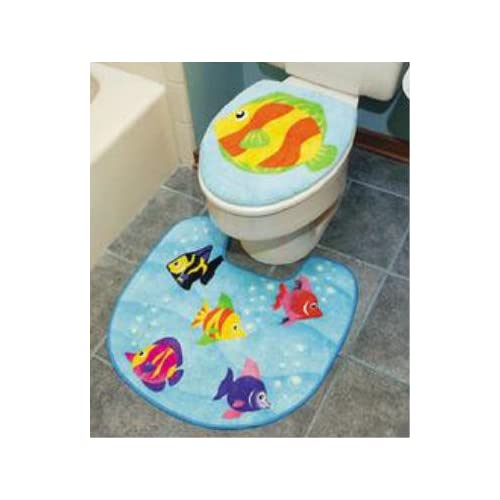 Tropical fish bathroom rug bath mat toilet lid decor nu for Bathroom fish decor