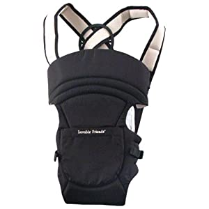Luvable Friends 2-in-1 Soft Baby Carrier, Black, 3-18 Months