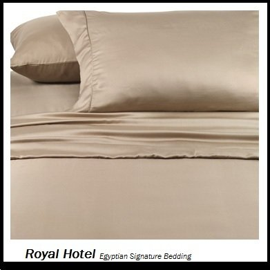 Royal Hotel's Solid Tan 800-Thread-Count 4pc California-King Bed Sheet Set 100-Percent Egyptian Cotton, Sateen Solid, Deep Pocket