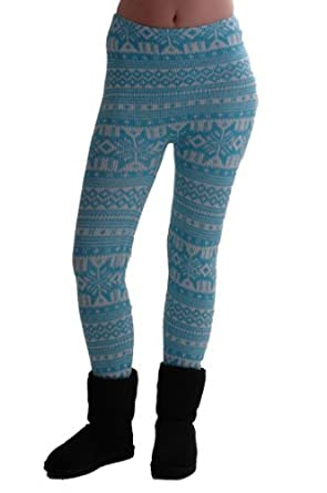 EyeCatchClothing - Womens Nordic Style Cozy Warm Sweater Knit Leggings One Size Aqua Cream