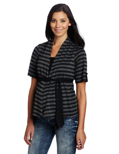Three Seasons Maternity Women's Elbow Sleeve Stripe Twofer Top