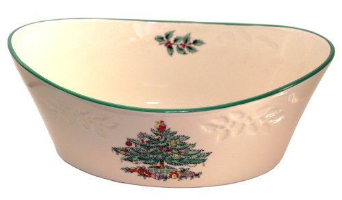 Spode Christmas Tree 9 Inch debossed Oval Bowl Nikko Christmas Tree