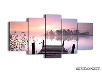 impression sur toile 160x85 160x85 cm image sur toile 5 parties encadr e prete a. Black Bedroom Furniture Sets. Home Design Ideas