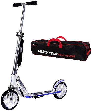 Hudora Scooter Roller Cityroller Big Wheel RX WB 205 Racing WEISS BLAU mit Scootertasche