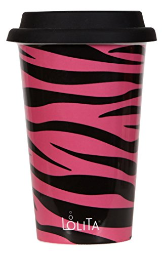C.R. Gibson Lolita Double Wall Porcelain To-Go Coffee Cup, Pink Zebra front-321688
