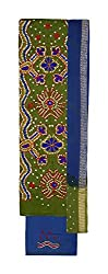 Bandhej Mart Women's Cotton Salwar Suit Material (Mehndi Green and Blue)