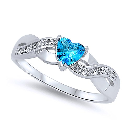 Sterling Silver Heart Light Blue CZ Color Stone Promise Ring 5MM ( Size 4 to 10 ), 7