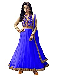 OMSAI FASHION Women's blue net Embroidery semi stitched Free Size Salwar Suit (Women's blue Indian Clothing )